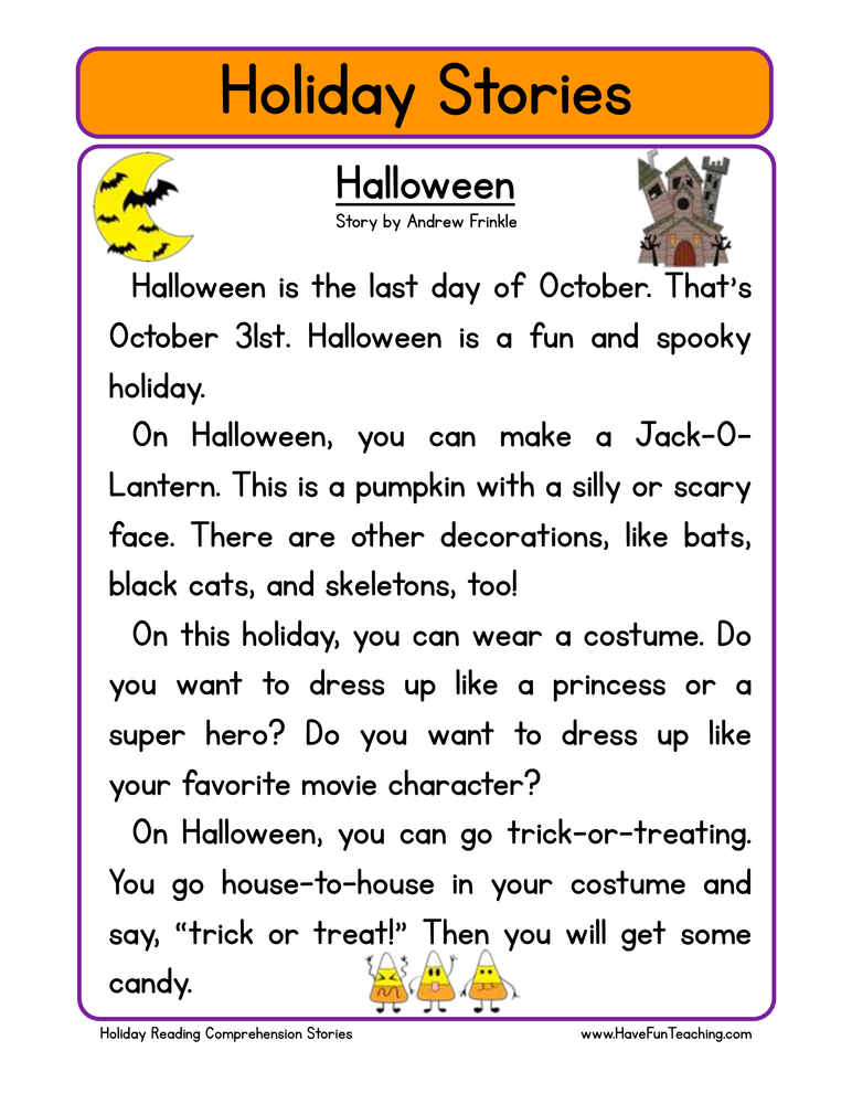 holiday stories comprehension halloween