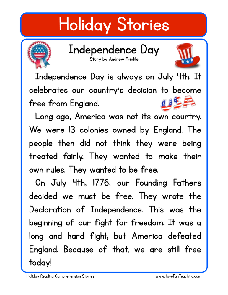 holiday stories comprehension independence day