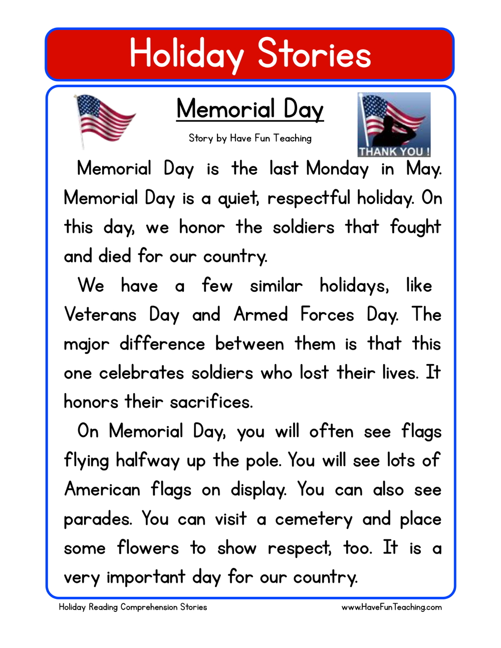 holiday stories comprehension memorial day