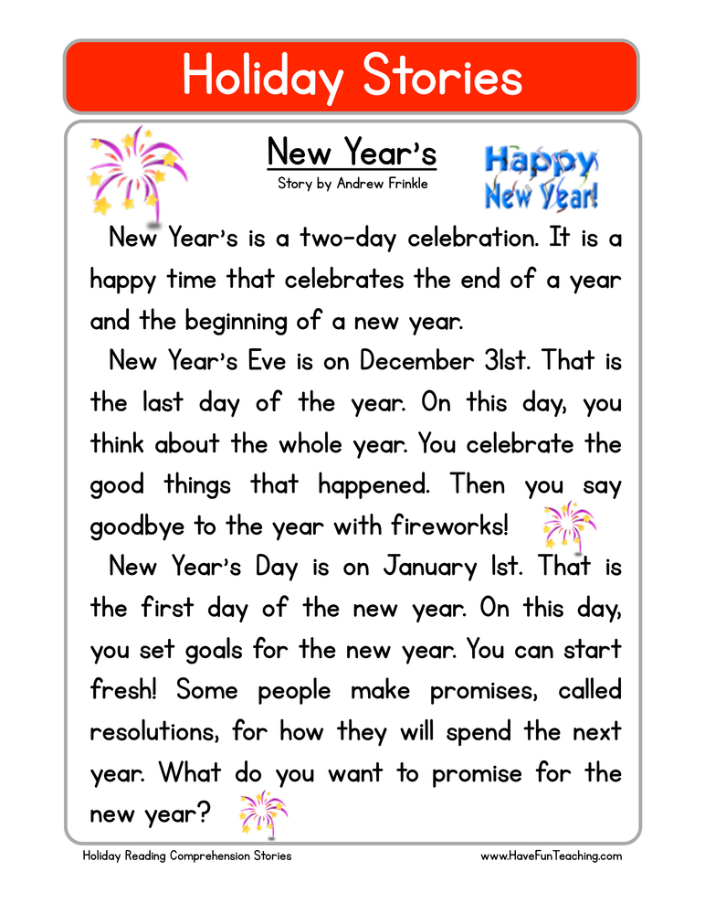 holiday stories comprehension new years