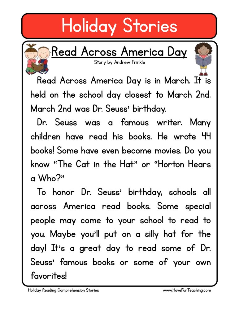 Printables Free Comprehension Worksheets For Grade 2 reading comprehension worksheets have fun teaching holiday stories read across america day