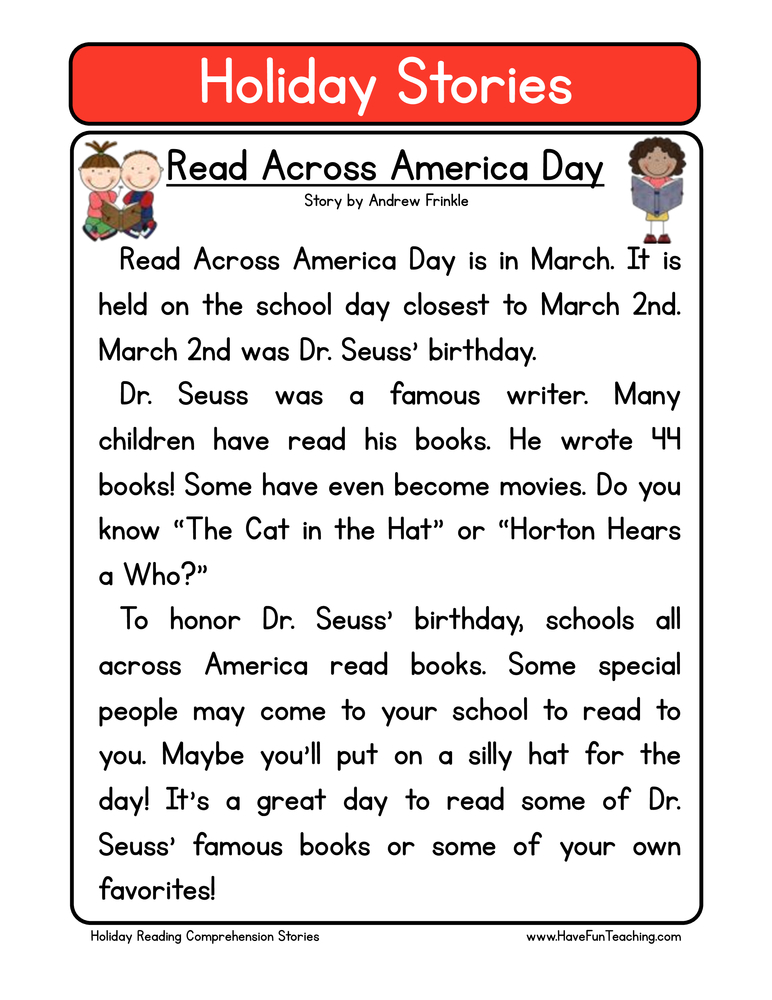 Printables Free Reading Comprehension Worksheets For 2nd Grade reading comprehension worksheets have fun teaching holiday stories read across america day second grade comprehension