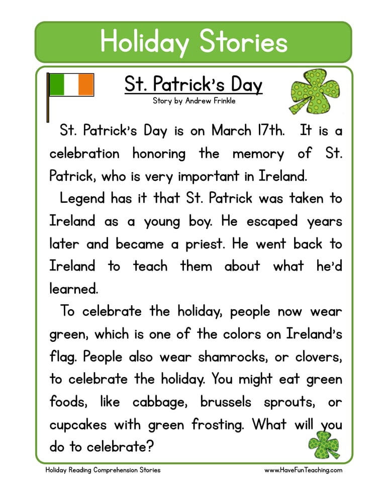 holiday stories comprehension st patricks day