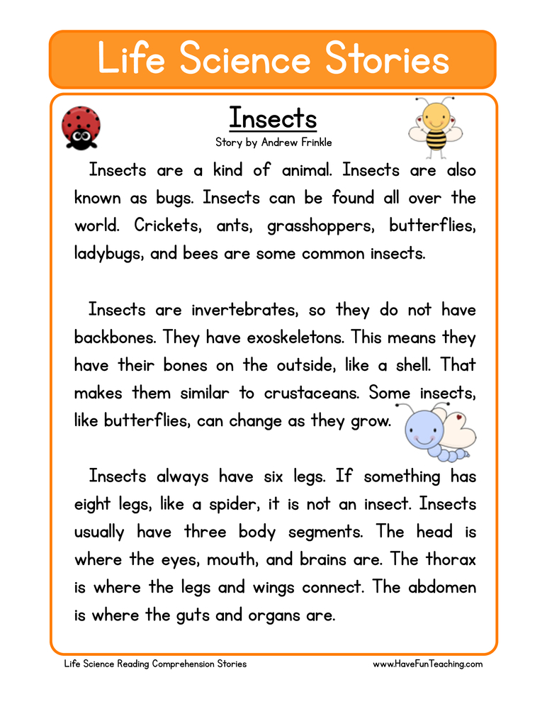 Worksheet Science Reading Comprehension Worksheets second grade reading comprehension worksheet life science stories insects