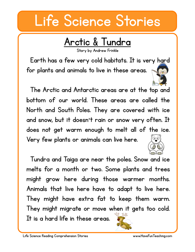 life science stories comprehension arctic and tundra
