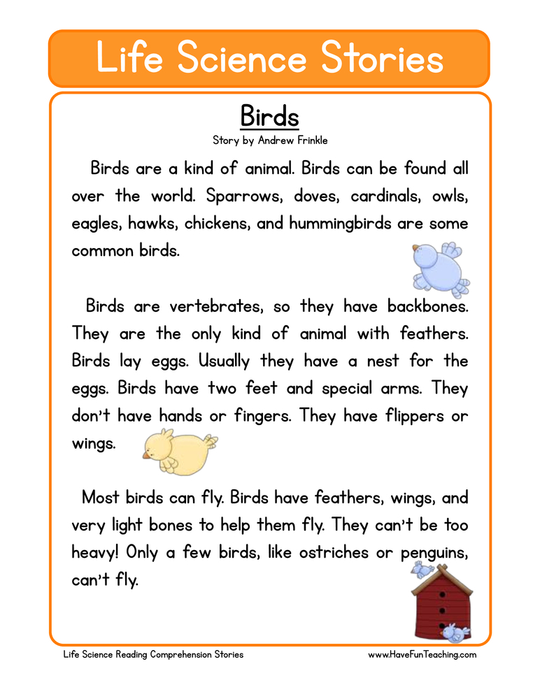 life science stories comprehension birds