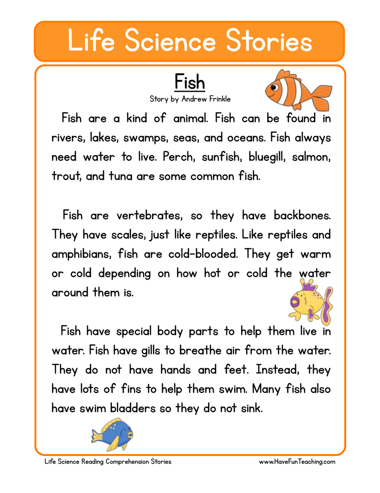 Fish Life Science Reading Comprehension Worksheet