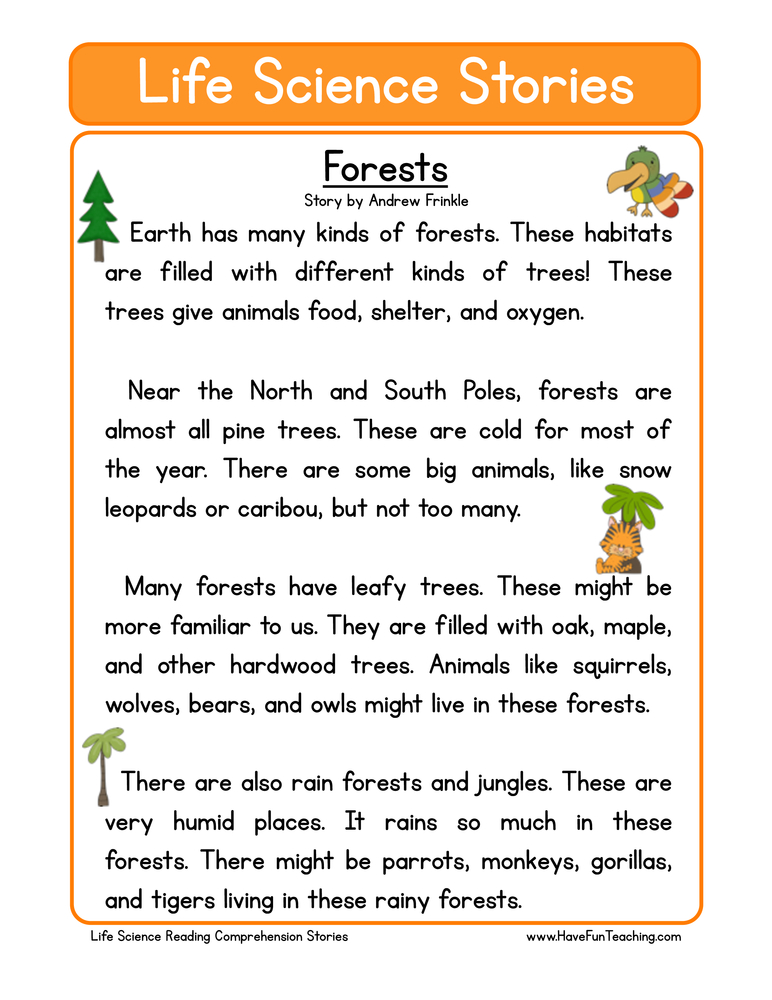 Second Grade Reading Prehension Worksheets Page 5 Of 14 Have. Forests Life Science Reading Prehension Worksheet. Worksheet. Science Reading Worksheets At Clickcart.co