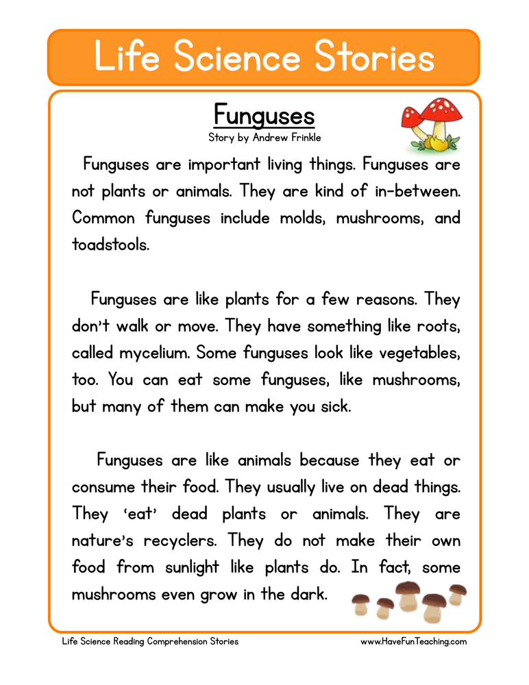 life science stories comprehension funguses