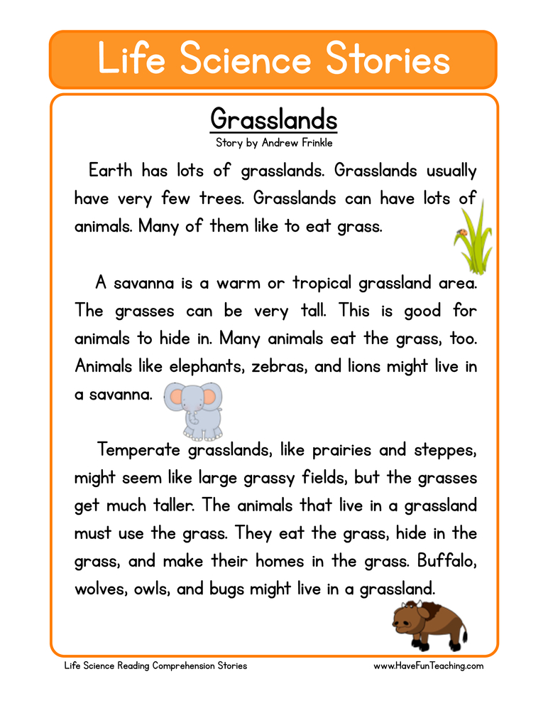 Reading Prehension Worksheets Page 15 Of 47 Have Fun Teaching. Grasslands Life Science Reading Prehension Worksheet. Worksheet. Science Reading Worksheets At Mspartners.co