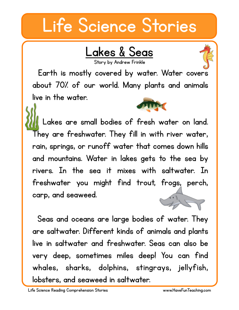 life science stories comprehension lakes and seas