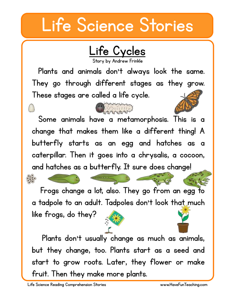 life science stories comprehension life cycles