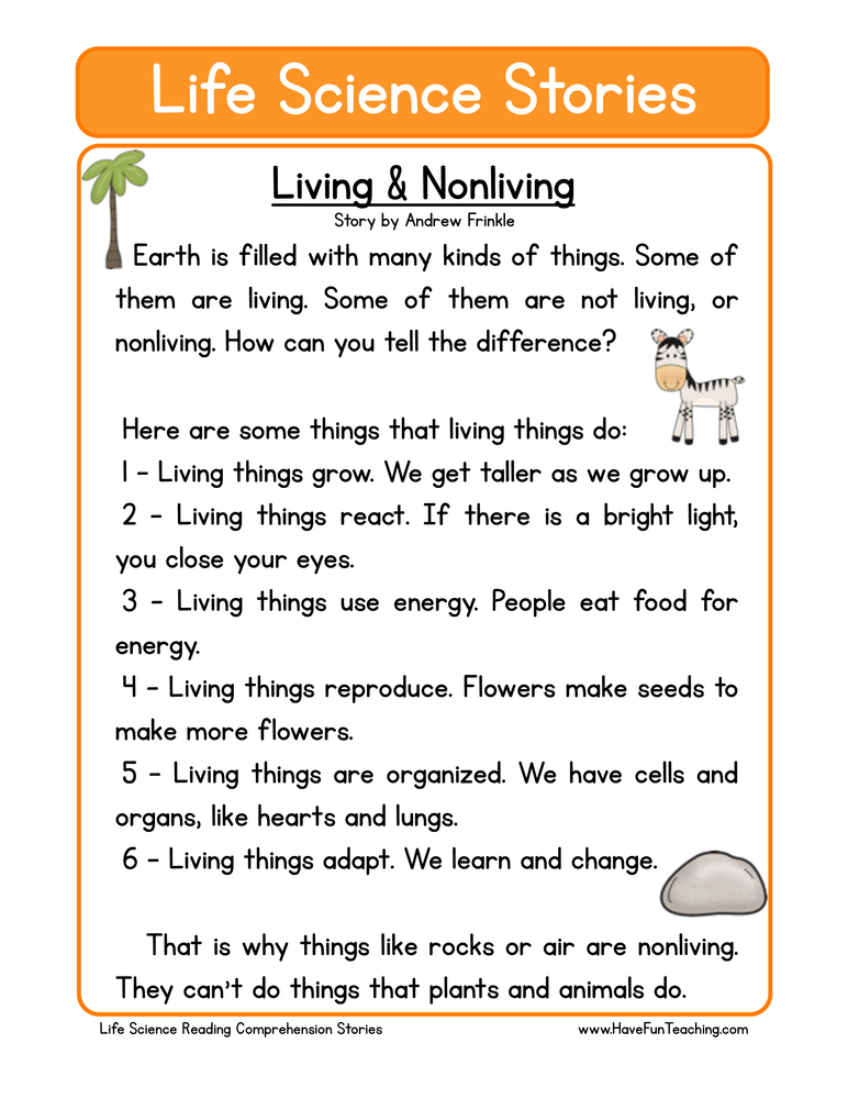 Worksheet Living Vs Nonliving Worksheet second grade reading comprehension worksheet life science stories living and nonliving