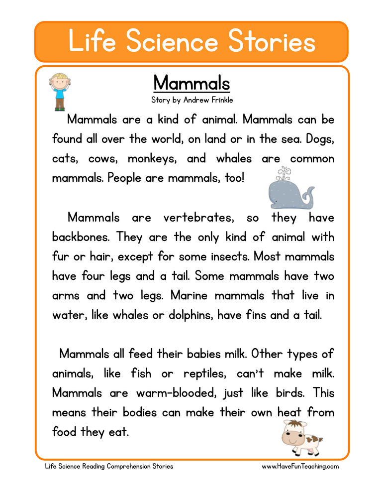 life science stories comprehension mammals