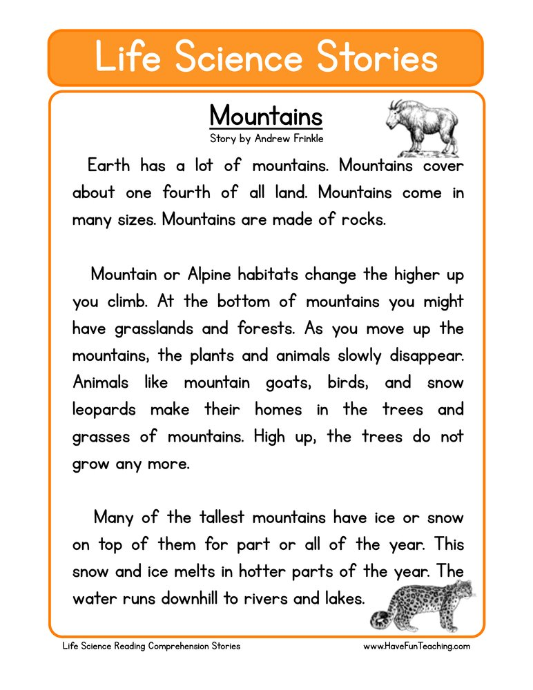 life science stories comprehension mountains