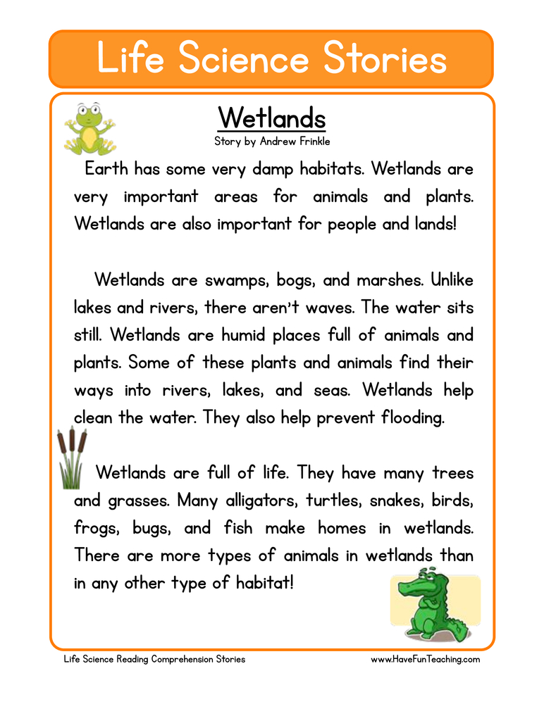 Second Grade Reading Comprehension Worksheet – Life Science Stories ...