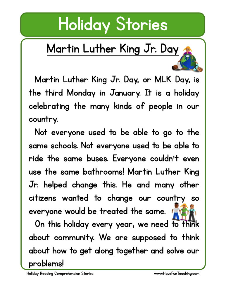 Martin Luther King Jr Day Reading Comprehension Worksheet • Have Fun  Teaching