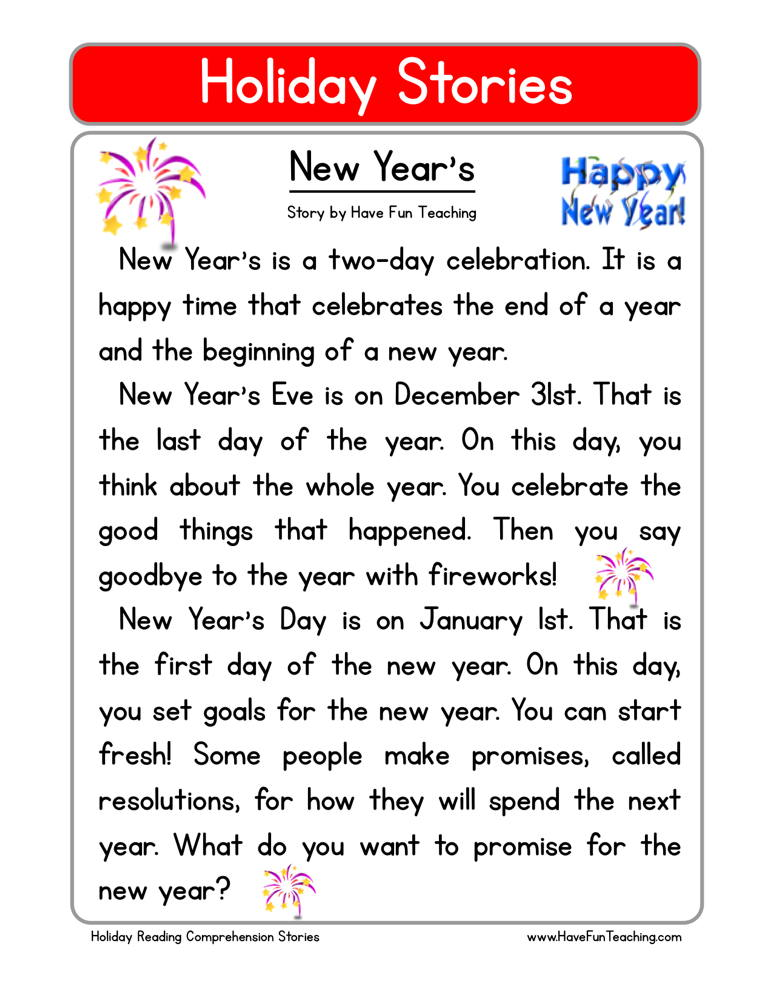 New Years Reading Comprehension Worksheet