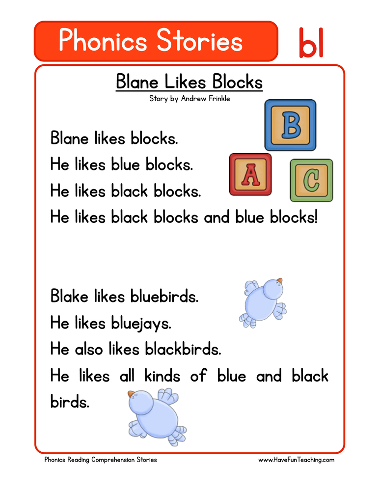 First Grade Reading Comprehension Worksheet - Phonics Words Stories ...