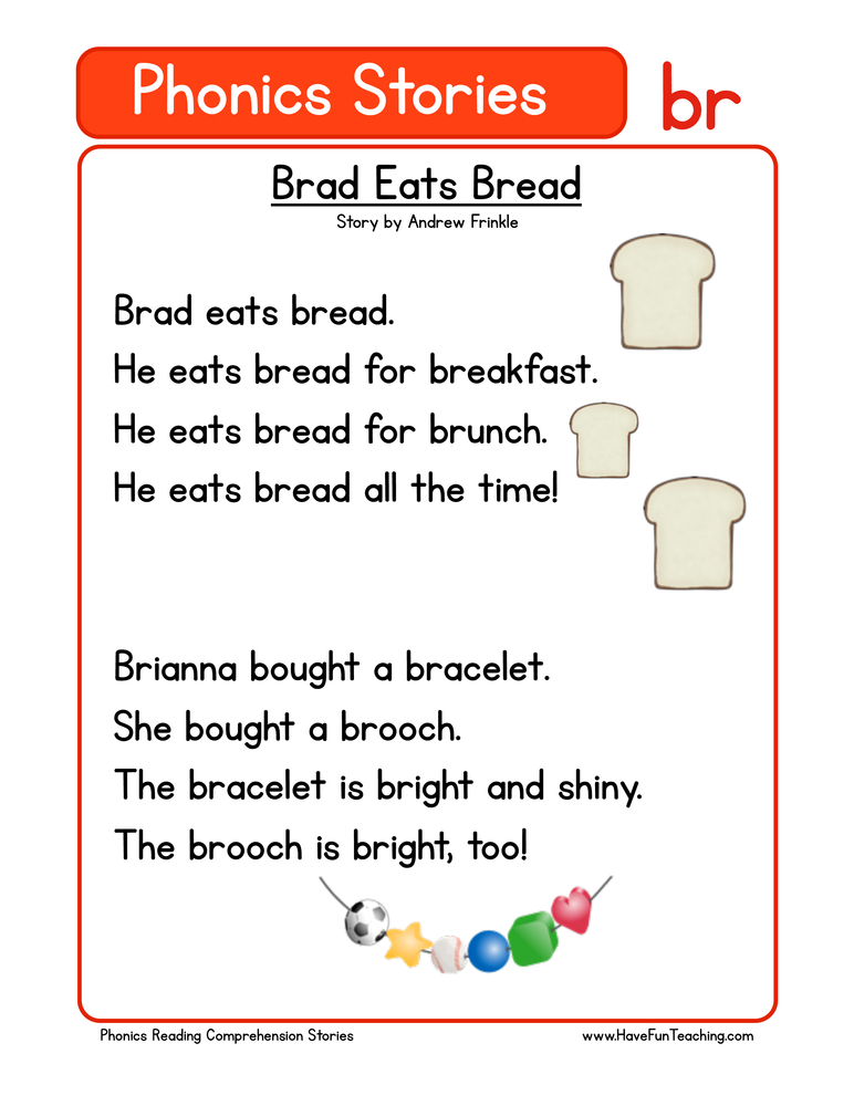 Reading Comprehension Worksheet – Phonics Words Stories – BR