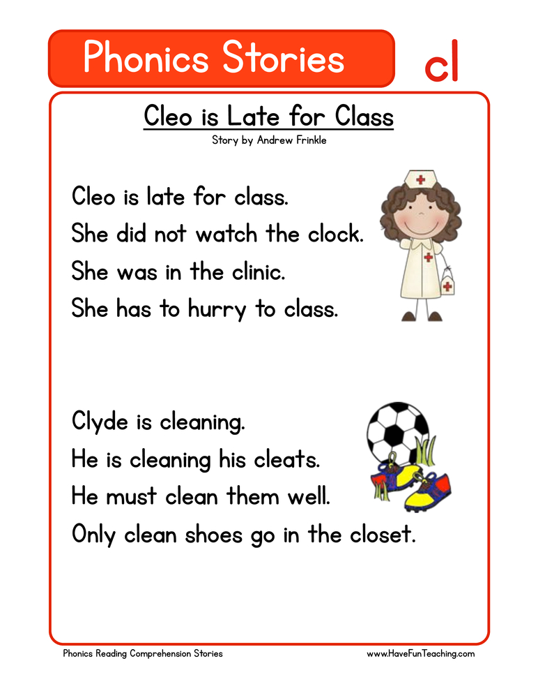 Reading Comprehension Worksheet – Phonics Words Stories – CL
