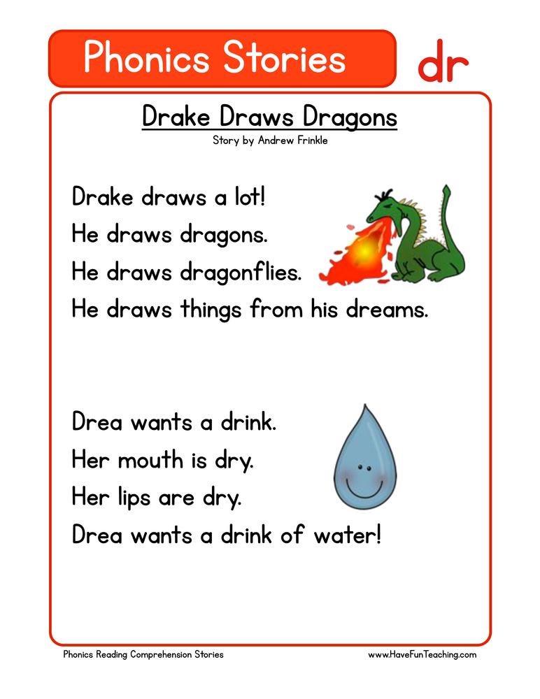 Drake Draws Dragons DR Phonics Reading Comprehension Worksheet