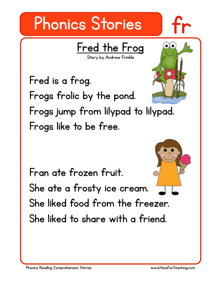 Fred the Frog FR Phonics Stories Reading Comprehension ...