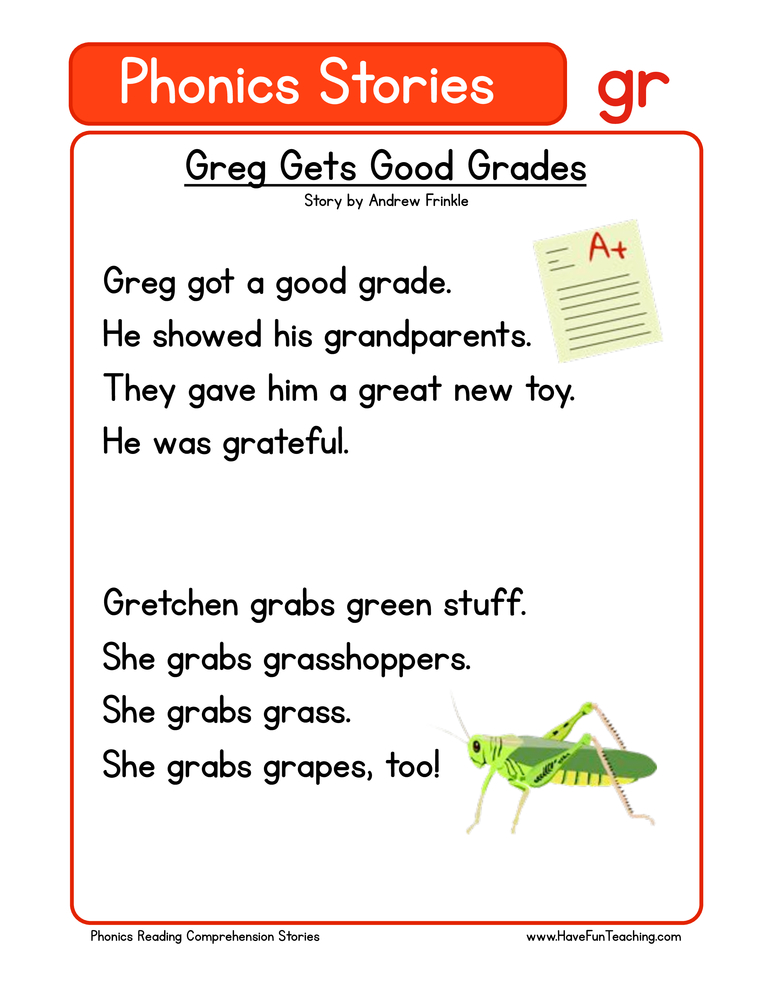 phonics stories comprehension gr