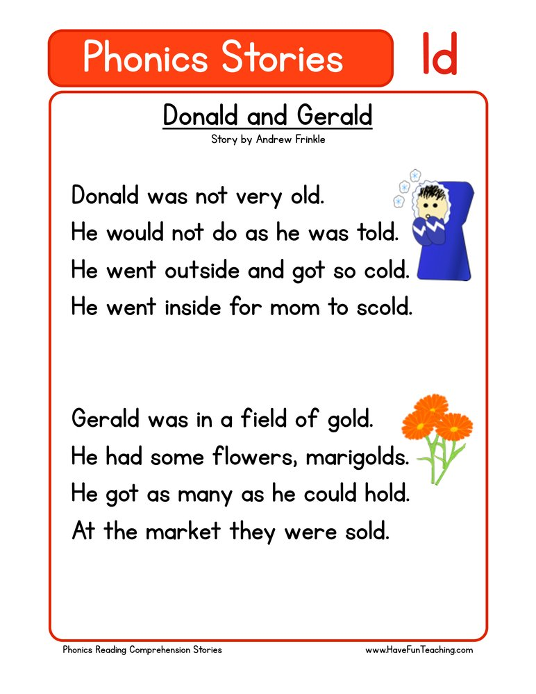 Donald and Gerald LD Phonics Reading Comprehension Worksheet