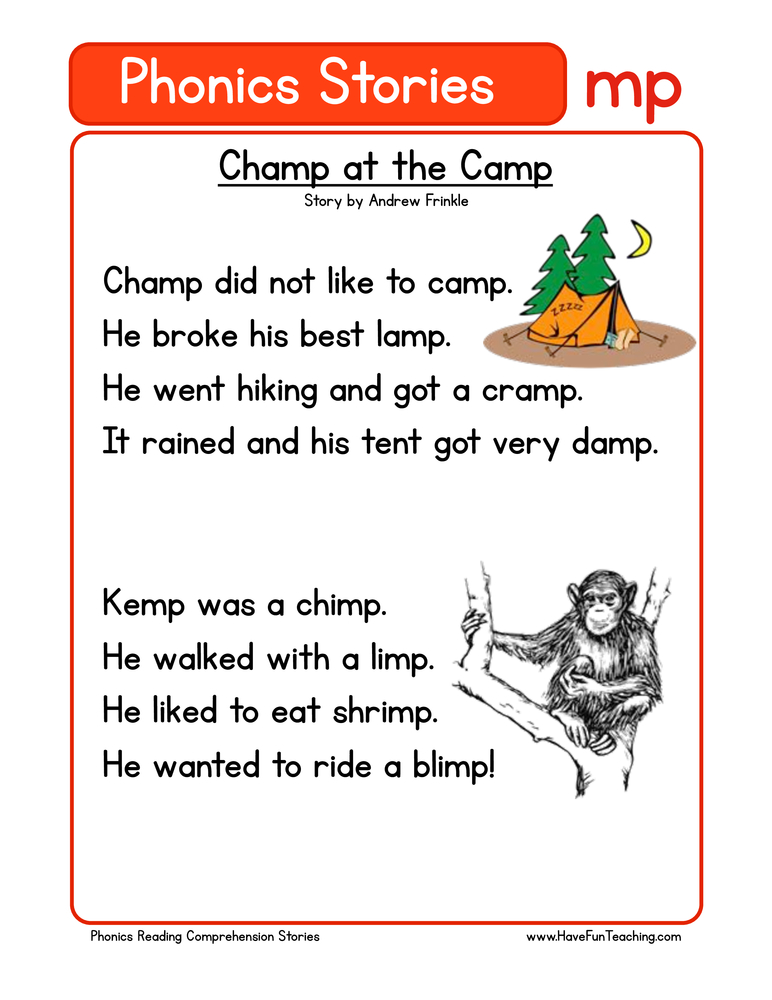 Champ at the Camp MP Phonics Reading Comprehension Worksheet