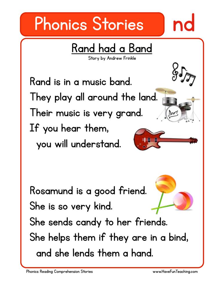 Rand had a Band ND Phonics Reading Comprehension Worksheet