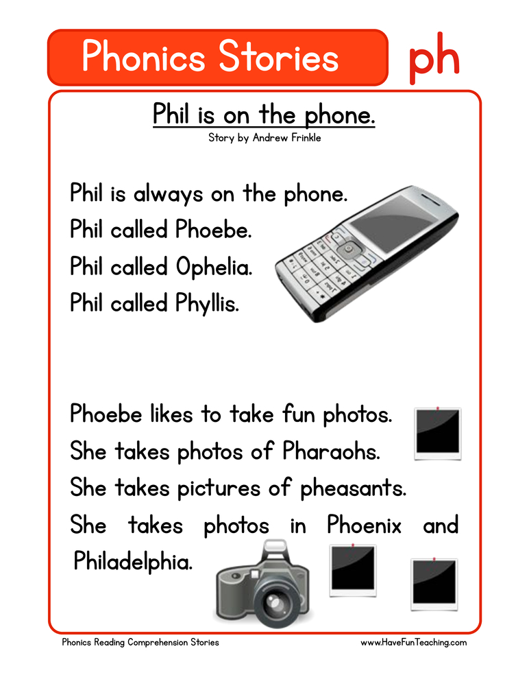 phonics stories comprehension ph