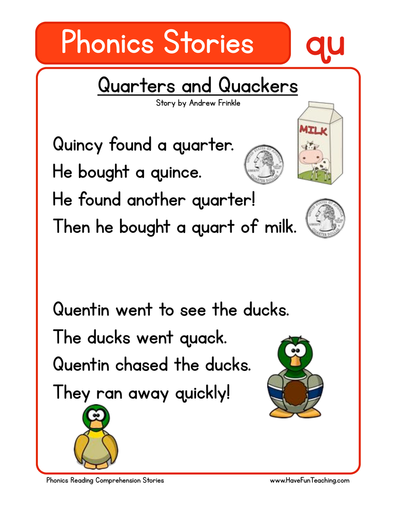 Quarters And Quackers QU Phonics Stories Reading Comprehension Worksheet •  Have Fun Teaching