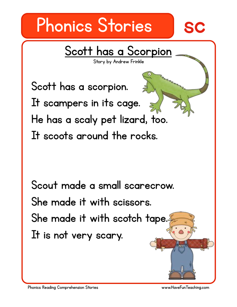phonics stories comprehension sc