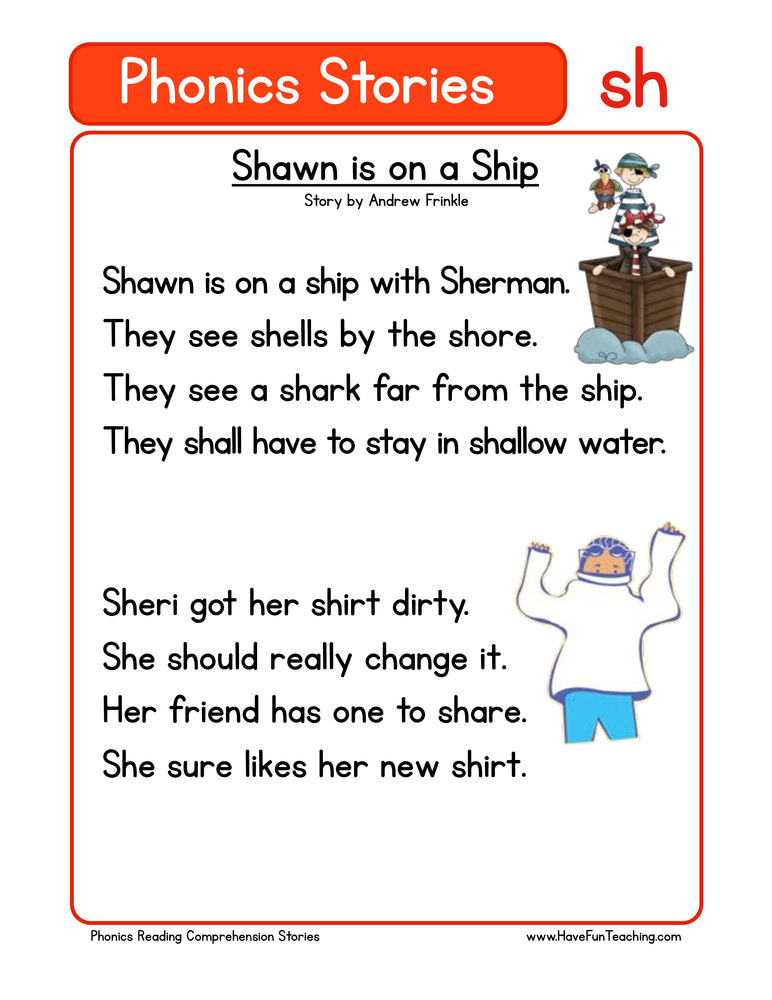 phonics stories comprehension sh