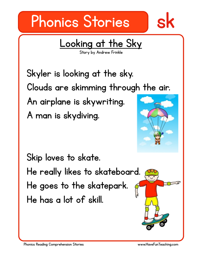 phonics stories comprehension sk
