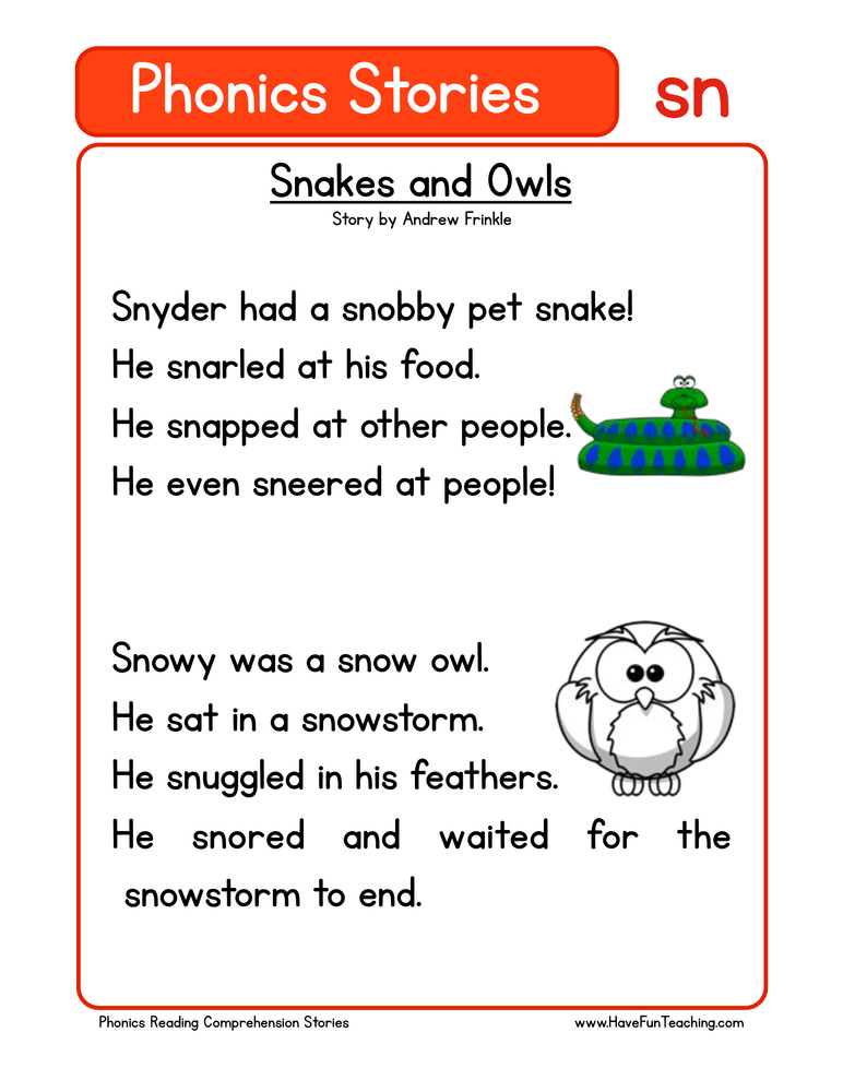 Snakes And Owls SN Phonics Stories Reading Comprehension Worksheet • Have  Fun Teaching