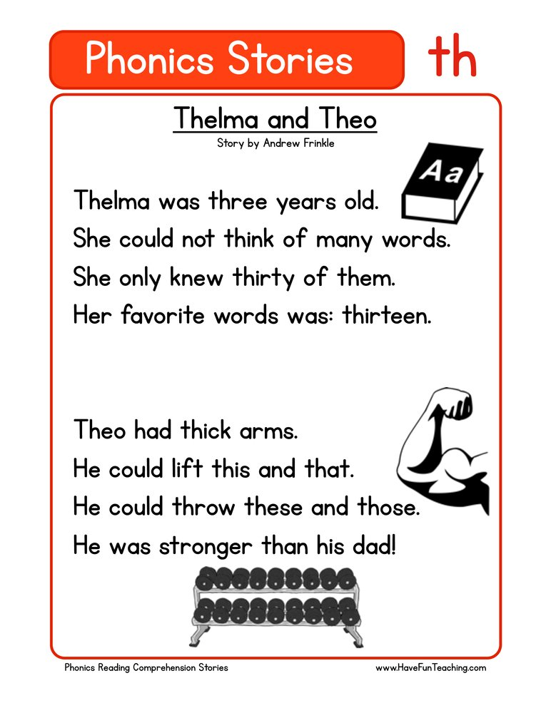 Thelma And Theo TH Phonics Stories Reading Comprehension Worksheet • Have  Fun Teaching