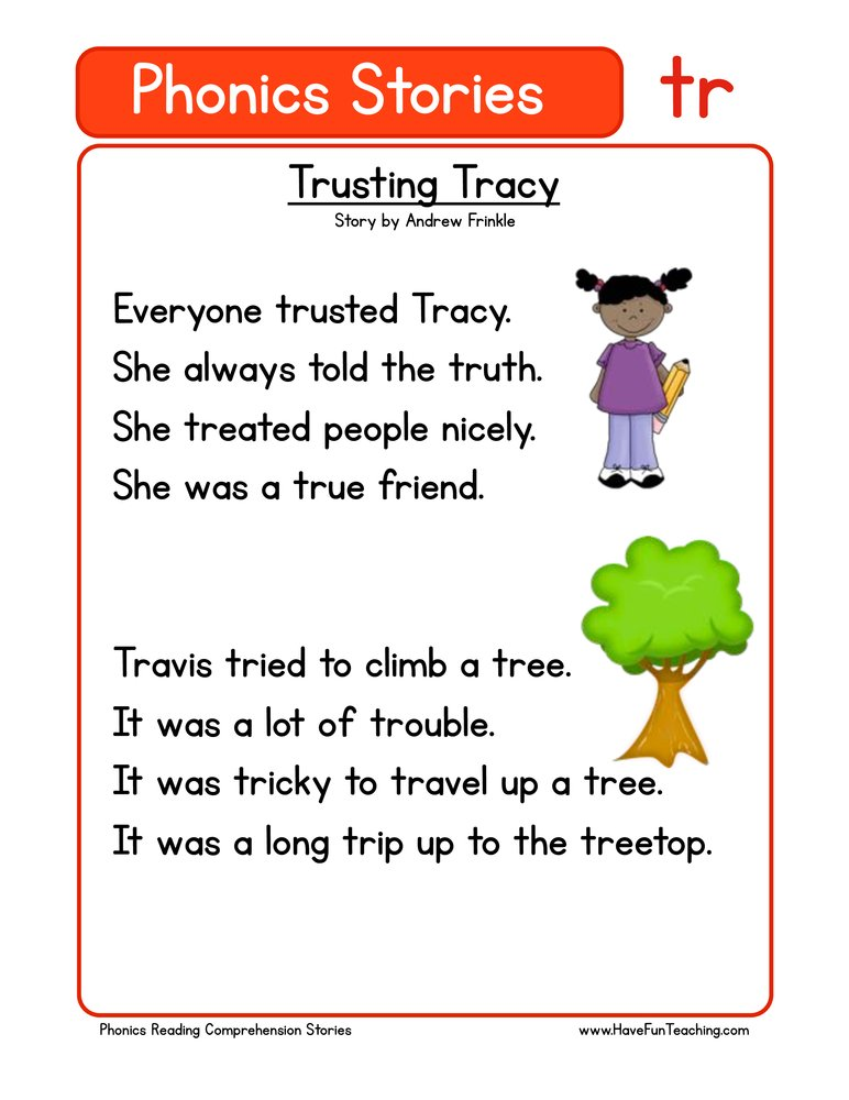 Trusting Tracy TR Phonics Reading Comprehension Worksheet