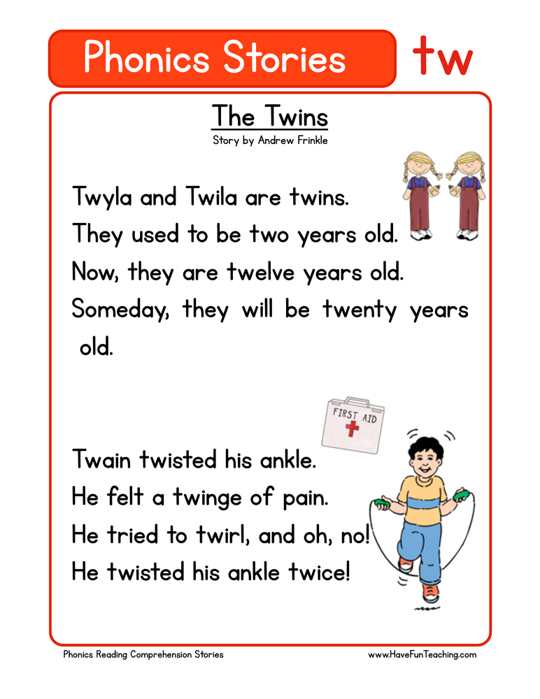 phonics stories comprehension tw