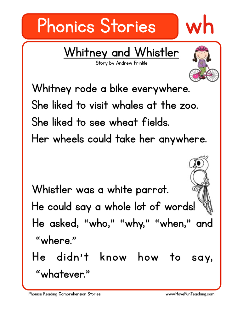Whitney And Whistler WH Phonics Stories Reading Comprehension Worksheet •  Have Fun Teaching