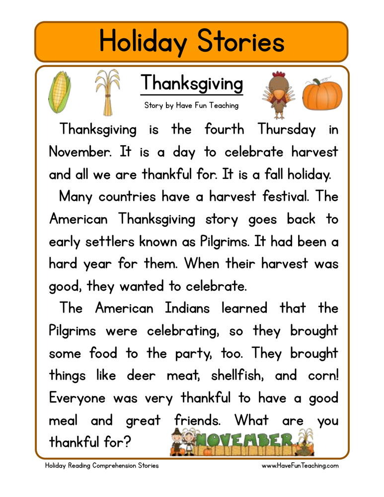 Thanksgiving Reading Prehension Worksheet
