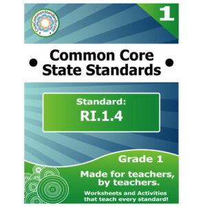 RI.1.4 First Grade Common Core Lesson