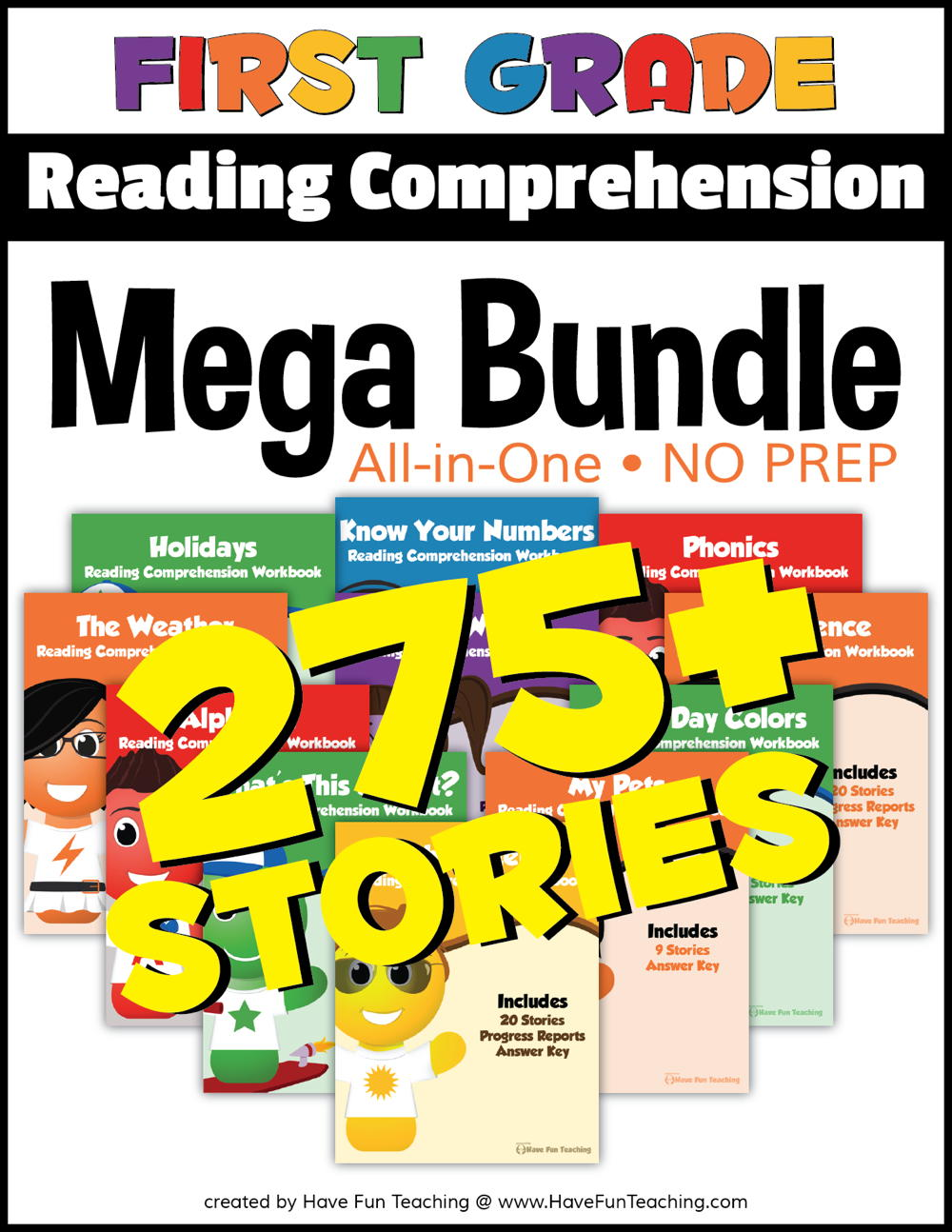 First Grade Reading Comprehension - No Prep All In One Mega Bundle