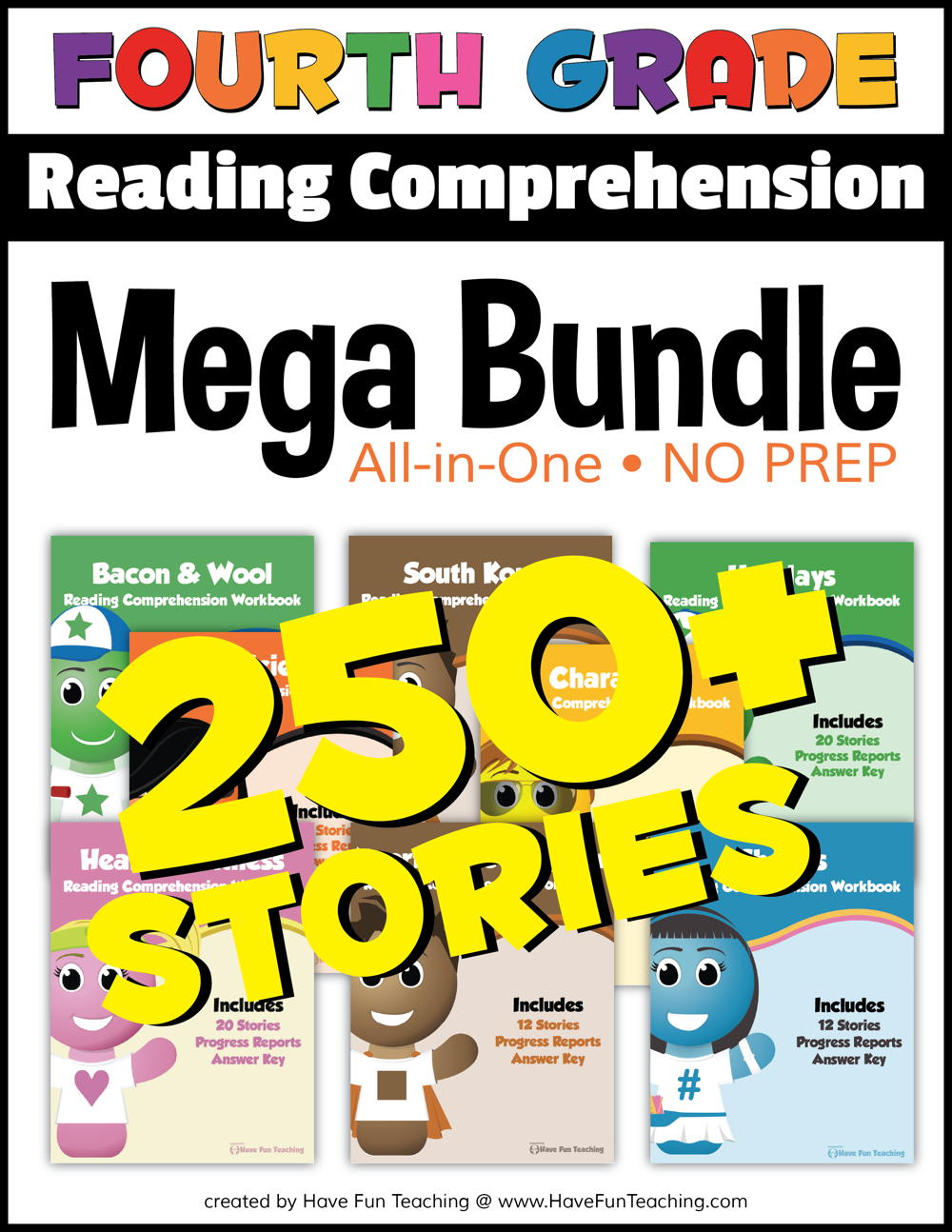 Fourth Grade Reading Comprehension - No Prep All In One Mega Bundle