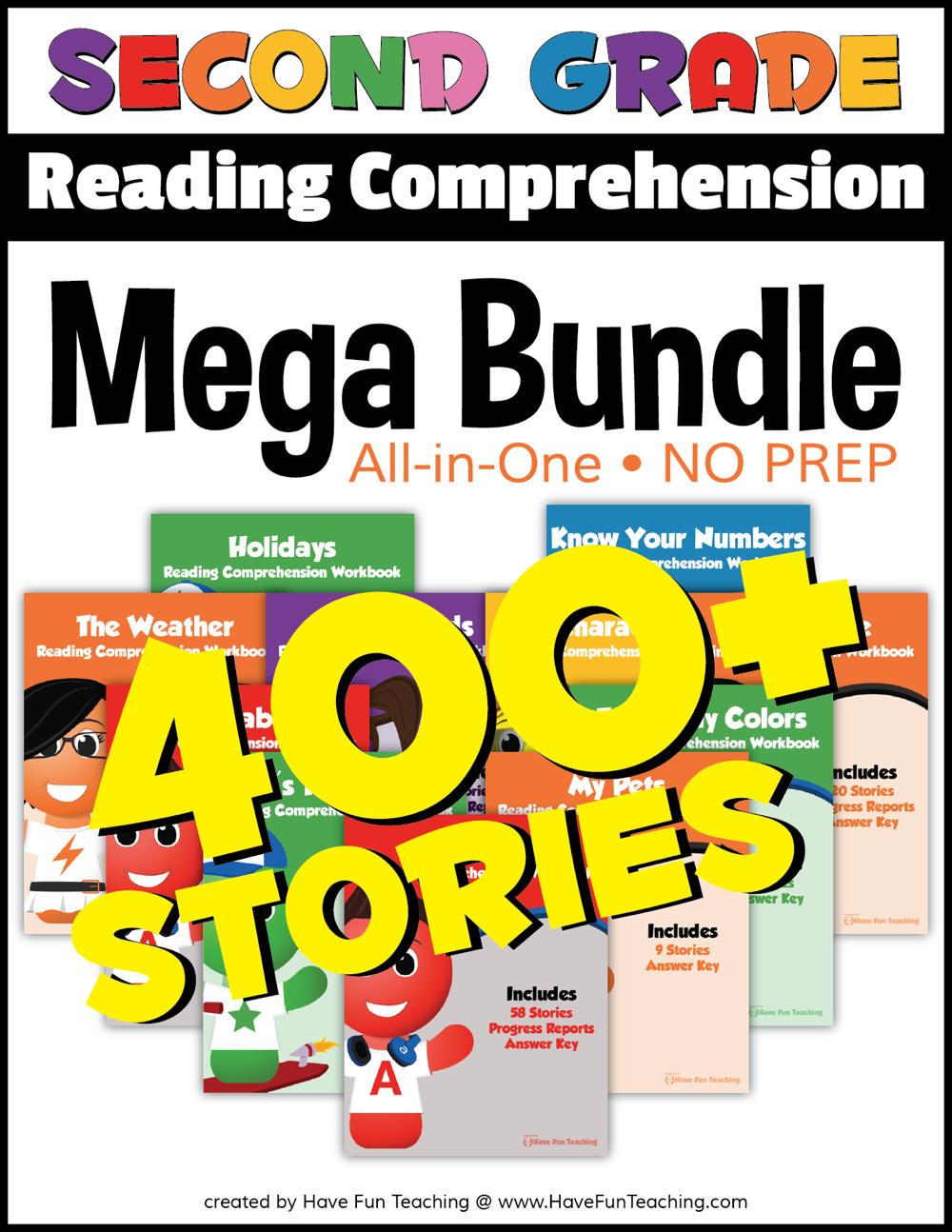 Second Grade Reading Comprehension - No Prep All In One Mega Bundle