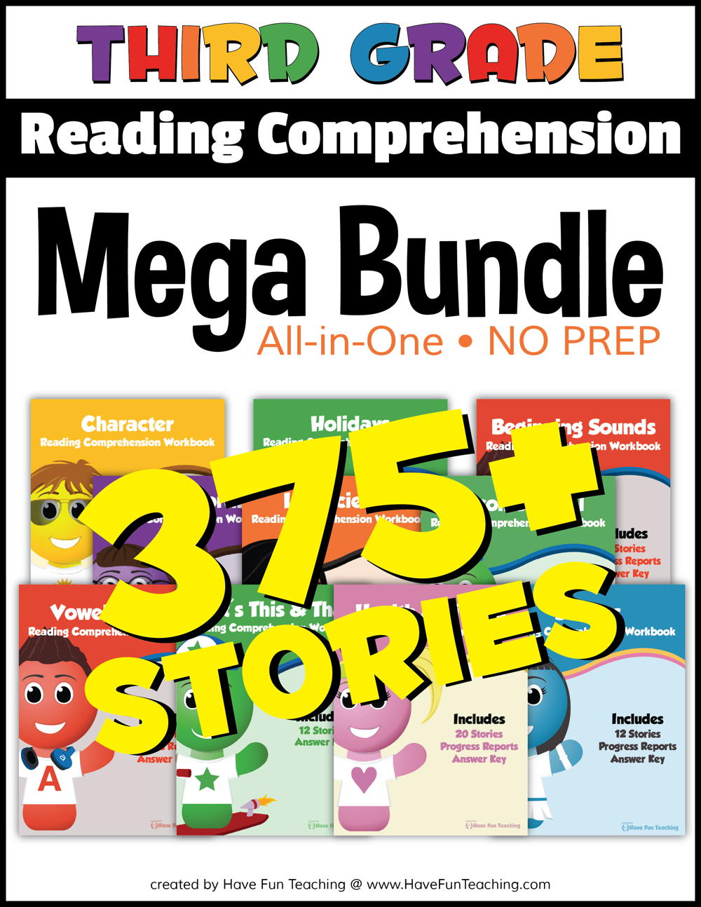 Third Grade Reading Comprehension - No Prep All In One Mega Bundle
