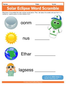 Solar Eclipse Word Scramble Worksheet