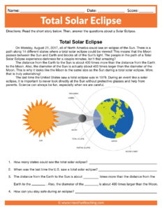Total Solar Eclipse Worksheet
