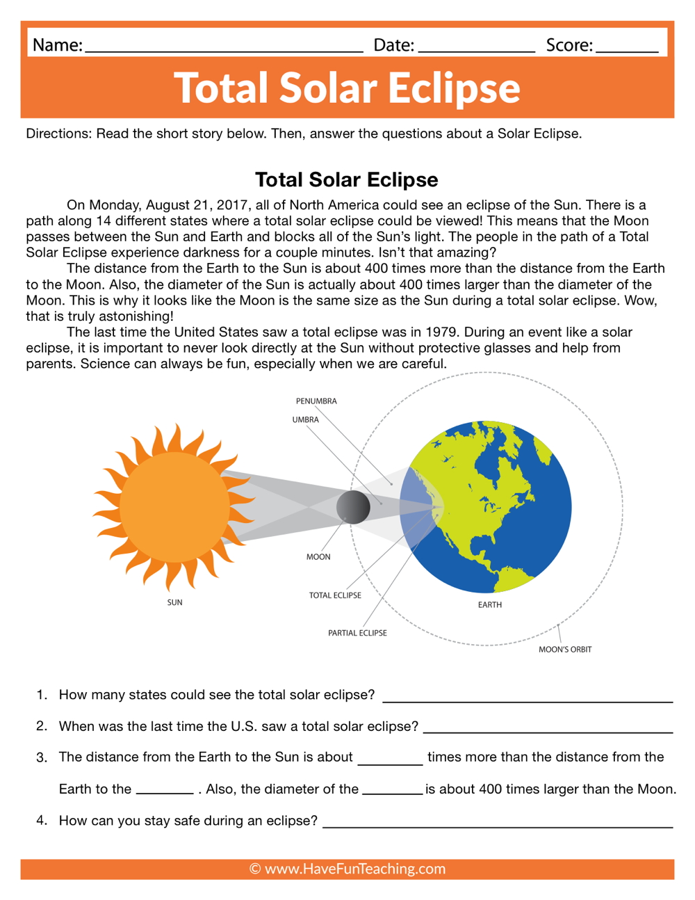 Total Solar Eclipse Worksheet